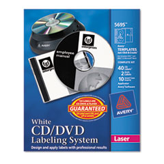 Avery CD/DVD Design Kit, Matte White, 40 Laser Labels and 10 Inserts