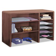 Safco Desktop Organizer, Nine Sections, 29 x 12 x 18, Mahogany