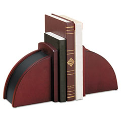 Rolodex Bookends, Nonskid, 10 x 5 x 6, Solid Wood, Mahogany