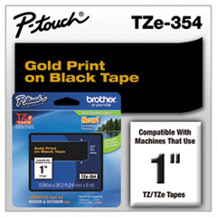 Brother P-Touch TZe Standard Adhesive Laminated Labeling Tape, 1w, Gold on Black