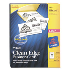 Avery Clean Edge Laser Business Cards, White, 2 x 3 1/2, 10/Sheet, 2000/Box