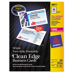 Avery Two-Side Printable Clean Edge Business Cards, Laser, 2 x 3-1/2, White, 1000/Box