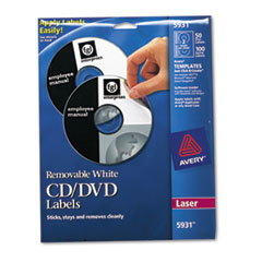 Laser CD/DVD Labels, Matte White, 50/Pack