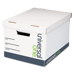 Universal One Extra-Strength Storage Box, Letter/Legal, 12 x 15 x 10, White, 12/Carton