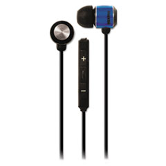 Maxell Flatwire Earbuds for iPad/iPhone/iPod with Built-in Microphone, Blue/Black
