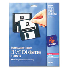 Avery Laser/Inkjet 3.5in Diskette Labels, White, 375/Pack