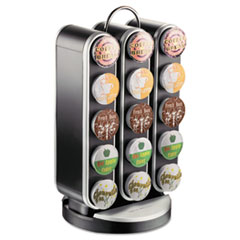 Mind Reader Vortex Single-Serve Cup Carousel, 30-Cup Capacity, 8 x 7 1/2 x 14, Black/Chrome