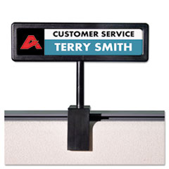 Advantus People Pointer Cubicle Sign, Plastic, 9 x 2 1/2, Black