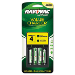 Rayovac Four Position Easy Charger with 2 AA, 2 AAA NiMH Rechargeable Batteries