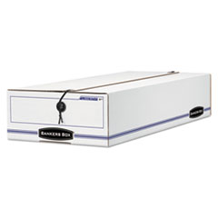 Bankers Box Liberty Check/Deposit Slip Storage Box, 9 x 23 x 4, White/Blue, 12/Carton