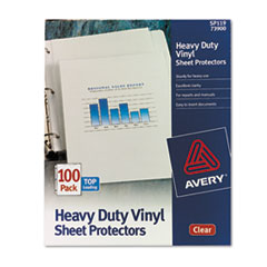 Avery Top-Load Vinyl Sheet Protectors, Heavy Gauge, Letter, Clear, 100/Box