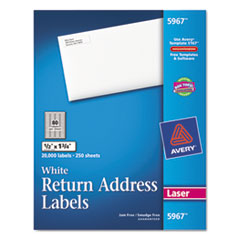 Avery Return Address Labels, 1/2 x 1-3/4, White, 20000/Box