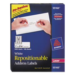 Avery Repositionable Address Labels for Laser Printers, 1 x 2 5/8, White, 3000/Box