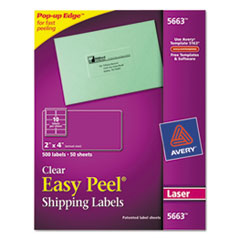 Avery Clear Easy Peel Mailing Labels, Laser, 2 x 4, 500/Box