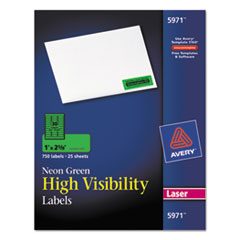 Avery High Visibility Rectangle Laser Labels, 1 x 2 5/8, Neon Green, 750/Pack