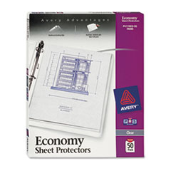 Avery Top-Load Sheet Protector, Economy Gauge, Letter, Clear, 50/Box