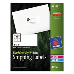 Avery EcoFriendly Labels, 2 x 4, White, 1000/Pack