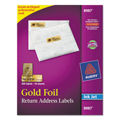 Avery Foil Mailing Labels, 3/4 x 2-1/4, Gold, 300/Pack