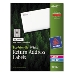 Avery EcoFriendly Labels, 1/2 x 1-3/4, White, 8000/Pack