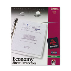Avery Top-Load Poly Sheet Protectors, Economy Gauge, Letter, Semi-Clear, 100/Box