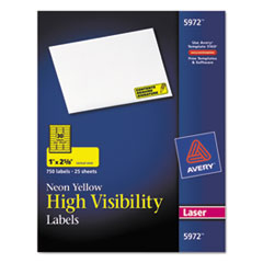 Avery High-Visibility Laser Labels, 1 x 2-5/8, Neon Yellow, 750/Pack