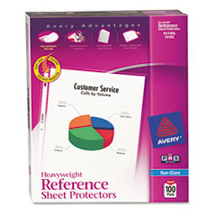 Avery Top-Load Poly Sheet Protectors, Heavy Gauge, Letter, Nonglare, 100/Box