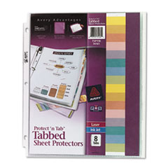 Avery Protect 'n Tab Top-Load Clear Sheet Protectors w/Eight Tabs, Letter