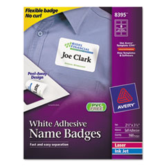 Avery Flexible Self-Adhesive Laser/Inkjet Name Badge Labels, 2 1/3 x 3 3/8, WE, 160/PK