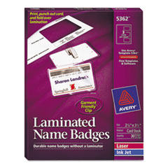 Avery Self-Laminating Laser/Inkjet Printer Badges, 2 1/4 x 3 1/2, White, 30/Box