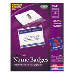 Avery Badge Holder Kit w/Laser/Inkjet Insert, Top Load, 3 x 4, White, 40/Box