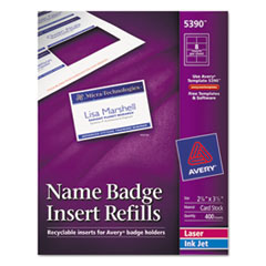 Avery Additional White Laser/Inkjet Insert for Badge Holder,2 1/4 x 3 1/2,White,400/BX