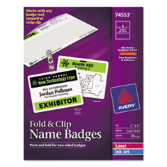 Avery Fold & Clip Badges, 3 x 4, White, 30/Box