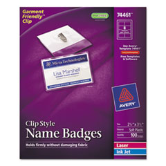 Avery Badge Holder Kit w/Laser/Inkjet Insert, Top Load, 2 1/4 x 3 1/2, White, 100/BX