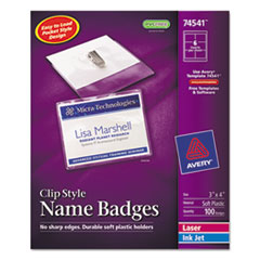 Avery Badge Holder Kit w/Laser/Inkjet Insert, Top Load, 3 x 4, White, 100/Box