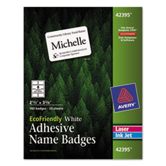 Avery EcoFriendly Adhesive Name Badge Labels, 2 1/3 x 3 3/8, White, 160/Box