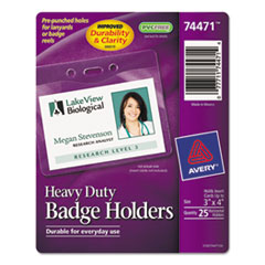 Avery Heavy-Duty Badge Holders, Horizontal, 4w x 3h, Clear, 25/Pack