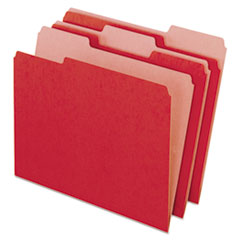 Pendaflex Earthwise Recycled Colored File Folders, 1/3 Cut Top Tab, Letter, Red, 100/Box