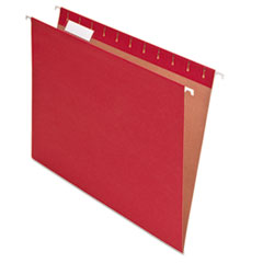 Pendaflex Earthwise Recycled Colored Hanging File Folders, 1/5 Tab, Letter, Red, 25/Box