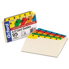 Oxford Laminated Index Card Guides, Alpha, 1/5 Tab, Manila, 3 x 5, 25/Set