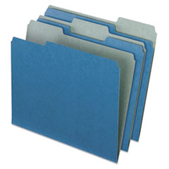 Pendaflex Earthwise Recycled Colored File Folders, 1/3 Cut Top Tab, Letter, Blue, 100/Box