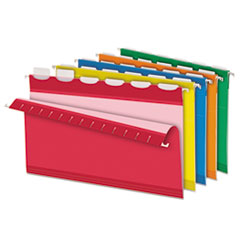 Pendaflex Colored Reinforced Hanging Folders, 1/6 Tab, Legal, Asst, 25/Box