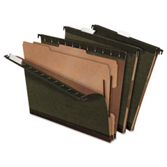 Pendaflex SureHook Reinforced Hanging Folder, 2 Dividers, Letter, Standard Green, 10/Box