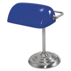 Ledu Traditional Incandescent Banker's Lamp, Blue Glass Shade, 13