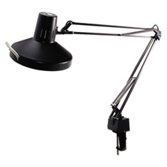 Ledu Three-Way Incandescent/Fluorescent Clamp-On Lamp, 40 Inch Reach, Black