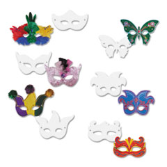 Creativity Street Die Cut Mardi Gras Masks, Paper, 6 Styles, 9 x 4, White, 24/Pack