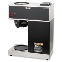 BUNN Pour-O-Matic Two-Burner Pour-Over Coffee Brewer, Stainless Steel, Black