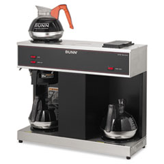 BUNN Pour-O-Matic Three-Burner Pour-Over Coffee Brewer, Stainless Steel, Black
