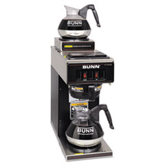 BUNN 12-Cup Two-Station Commercial Pour-O-Matic Coffee Brewer, Stainless Steel, Black