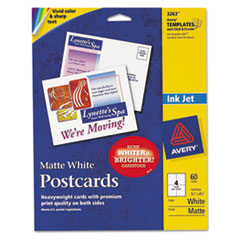 Avery Postcards for Inkjet Printers, 4-1/4 x 5-1/2, Matte White, 4/Sheet, 60/Box