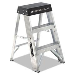 ALUMINUM STEP STOOL, 2-STEP, 17W X 18.25 SPREAD X 26H, ALUMINUM/BLACK